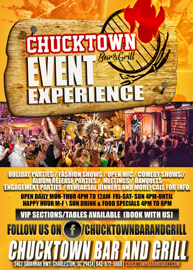 Chucktown bar and grill flyer back